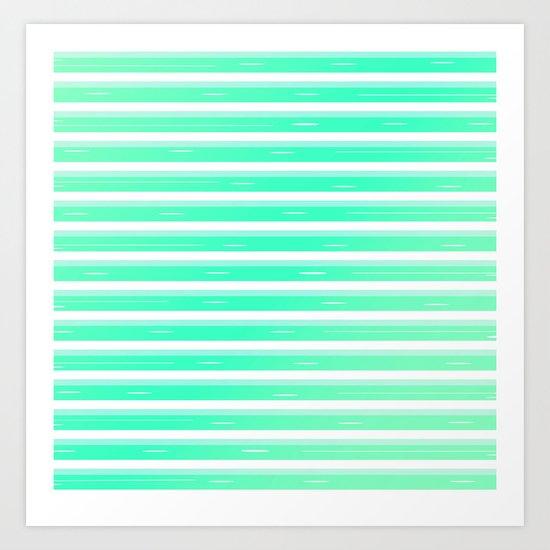 Mint stripes Art Print