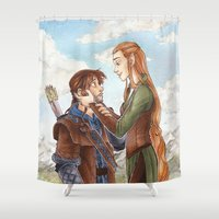 kili Shower Curtains featuring Kili and Tauriel by CaptBexx