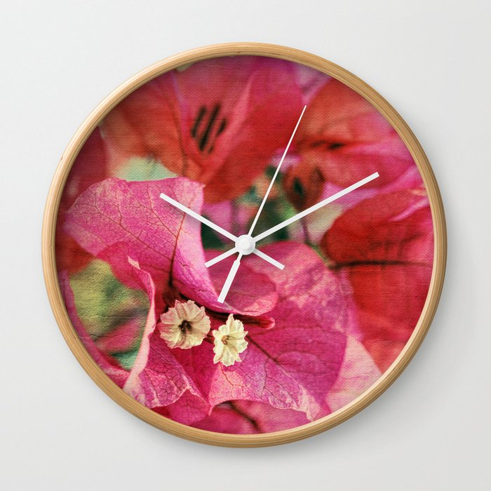 Vintage Bougainvillea Flowers in pink & green with textures Wall Clock