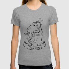 Tea Rex Womens Fitted Tee SMALL Tri-Grey