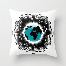 Carbon Footprint Earth Border Throw Pillow
