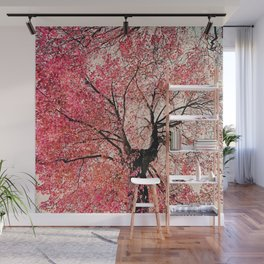Red tree Wall Mural