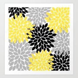 Yellow Black Gray Flower Burst Floral Pattern Art Print