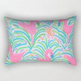Flamingo Jungle Party Print Rectangular Pillow