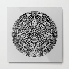 Mayan Calendar // Light Grey Metal Print