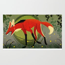 "Tribal Maned Wolf ""Fifty Shades of Green"" Rug"