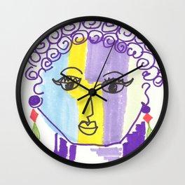 Crazy Face Purple Curls Wall Clock