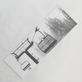 Chairlift Abyss // Black and White Chair Lift Ride to the Top Colorado Mountain Artwork Yoga Mat