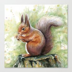 Squirrel and Nut Forest Animals Watercolor Canvas Print