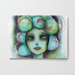 Original Chalk Pastel Illustration by Jenny Manno Metal Print