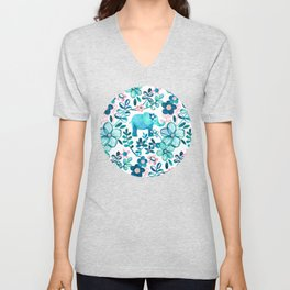Dusty Pink, White and Teal Elephant and Floral Watercolor Pattern Unisex V-Neck