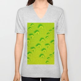 Camouflaged butterflies in green Unisex V-Neck