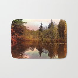Mirror Pond, Perfect Stillness At Sunset Bath Mat