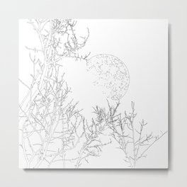 winter moon and trees Metal Print