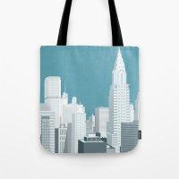 manhattan Tote Bags featuring Manhattan by mauromod