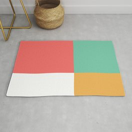 Minimal Abstract Lucite green, Coral, Grey, Honey, and White 04 Rug