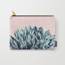 Blush Navy Blue Agave Chic #1 #succulent #decor #art #society6 Carry-All Pouch