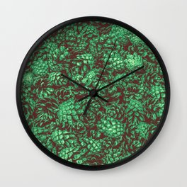 Scent of Pine RETRO GREEN / Photograph of pine cones Wall Clock