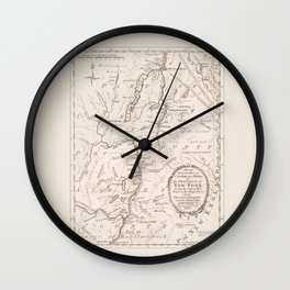 Vintage British Map of Lake George Area Wall Clock