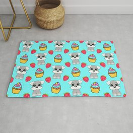 Cute happy funny baby Schnauzer puppy, sweet adorable yummy colorful Kawaii cupcakes and red summer strawberries cartoon bright pastel baby blue pattern design Rug