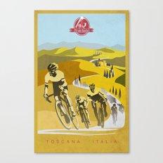 Strade Bianche retro cycling classic art Canvas Print