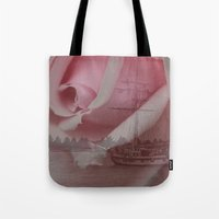 return Tote Bags featuring Return Safely by Mark Alder