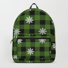 Christmas Plaid Snowflake With Star Design Buffalo Plaid Winter Xmas Pattern (greenish and black) Backpack
