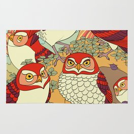 Burrowing Owl Family Rug