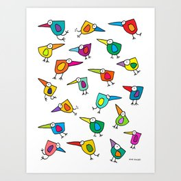 A Flock of Colourful Birds Art Print