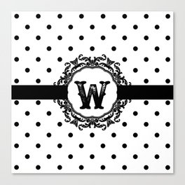 Black Monogram: Letter W Canvas Print