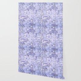 "Alphonse Mucha ""Peonies"" (edited blue) Wallpaper"