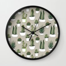 Watercolour cacti & succulents - Beige Wall Clock