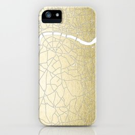 Gold on White London Street Map II iPhone Case