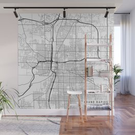 Grand Rapids Map, USA - Black and White Wall Mural