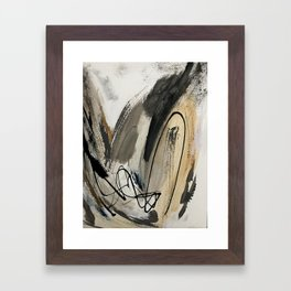Drift [5]: a neutral abstract mixed media piece in black, white, gray, brown Framed Art Print