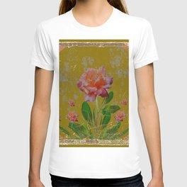 ANTIQUE AVOCADO COLOR  CORAL  PINK ROSES BOTANICAL ART T-shirt