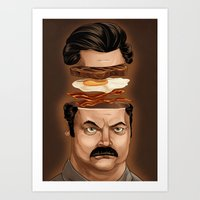 swanson Art Prints featuring Ron Swanson by Dave Collinson