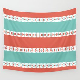South Western Print in Modern Aqua Turquoise and Coral Geometric Diamonds Arrows Triangles Circles Wall Tapestry