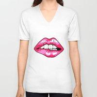 lip V-neck T-shirts featuring Lip Biting by Heidi Banford