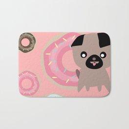 Pug and donuts pink Bath Mat