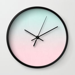 Ellie - ombre fade pastel pink and mint gender neutral nursery baby girly trend style Wall Clock