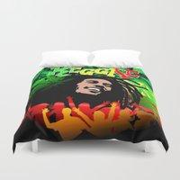 reggae Duvet Covers featuring Reggae Rasta Colors Fun and Marijuana by BluedarkArt