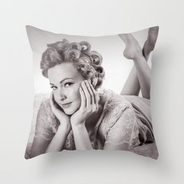 """Curlers Before Bed"" - The Playful Pinup - Lounging in Lace Pin-up Girl by Maxwell H. Johnson Throw Pillow"