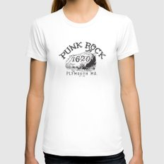 THE ORIGINAL PUNK ROCK PLYMOUTH MA SMALL White Womens Fitted Tee