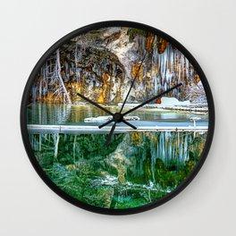 A Serene Chill - Hanging Lake Colorado Panorama Wall Clock