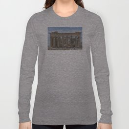Modern and Ancient - Parthenon at Acropolis of Athens Under Construction Long Sleeve T-shirt