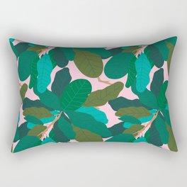 Tropicana Banana Leaves in Classic Pink Rectangular Pillow