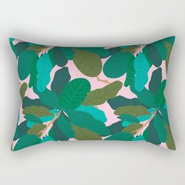 Tropicana Banana Leaves in Classic Pink Rectangular Pillow