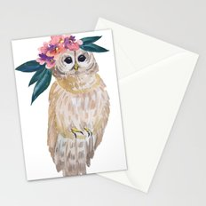 Owl with flower crown Stationery Cards