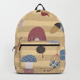 Geometrical brown blue autumn leaves mushroom stripes pattern Backpack